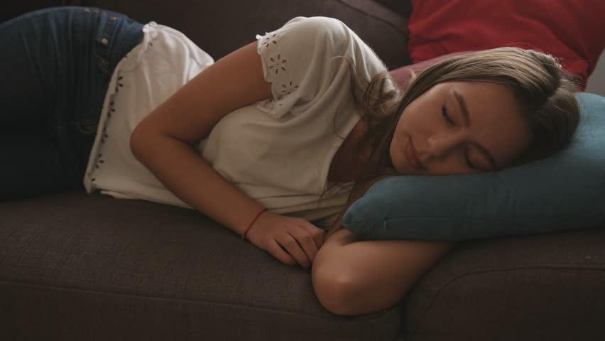 Girl jerking man of sleeping teen