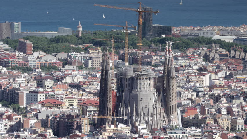 BARCELONA JUNE 2017 - close up shot of sagrada familia from the bunkers de carmel, a viewpoint over the city of barcelona | Shutterstock HD Video #28514320