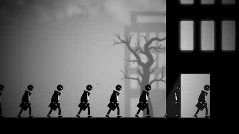 Depressed white-collar workers marching to their daily office jobs. Conceptual animation with a dark, dystopian feel, like George Orwell's 1984 or Metropolis. Seamlessly loopable.