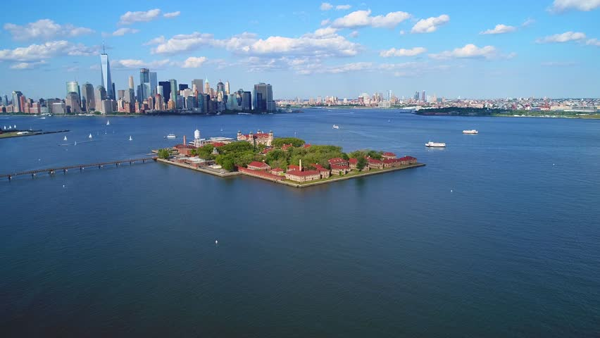 Aerial drone video Ellis Island 4k 60p