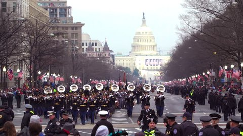Washington D.C.-2010s: The Marine Corps marching band walks through Washington DC during the presidential inauguration.