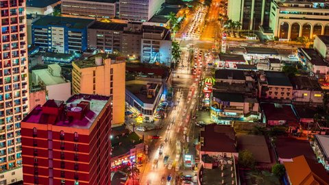 Makati, Philippines - April 22, 2017: Makati Timelapse view showing city skyline view of retail office and condominium buildings at night