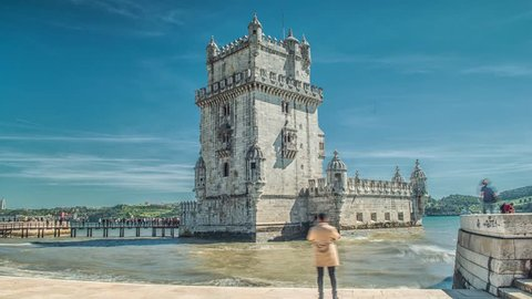 Famous Lisbon Landmarks, Belem Tower In Tagus River. Belem Tower is a fortified tower located in the civil parish of Santa Maria de Belem in the municipality of Lisbon, Portugal.