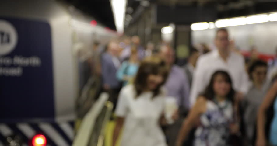NEW YORK - CIRCA JULY 2017: Crowd of morning commuters people getting off train | Shutterstock HD Video #28674430