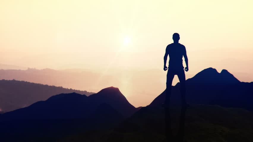 Animated CGI silhouette in a victory pose on the peak of a mountain. 4K animation. | Shutterstock HD Video #28699507