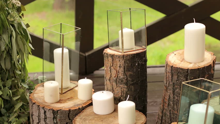 Candles In Gl Bo Standing On Logs The Wedding Ceremony Hd Stock Footage