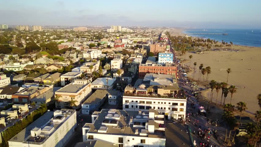 Venice Beach Coastal Sunset Aerial Landscape Views