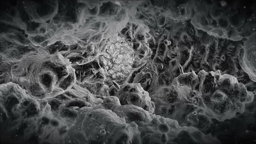 Electron microscope view at the alien virus. Animation of the alien nano cell nested and growing in organism - seen through an electron microscope.