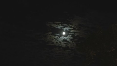Full moon in the night sky, full moon, night sky, the motion of clouds in the night sky against the background of a bright moon, Clouds in the night sky against a bright moon, timelapse