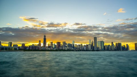 Golden Chicago Sunset Time Lapse day to night Skyline 4K 1080P - Sunset in chicago illinois with gold sky and night lights turning on downtown