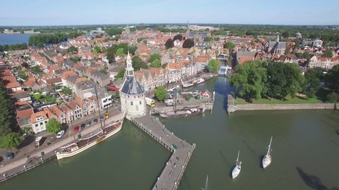 Aerial harbour and beautiful city at lake,Hoorn,Netherlands
