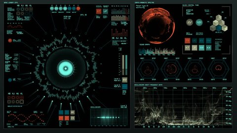 Ultra detailed abstract digital background. Blinking and switching indicators and statuses showing work of command center, processing big data, machine deep learning. Sound system analysis.
