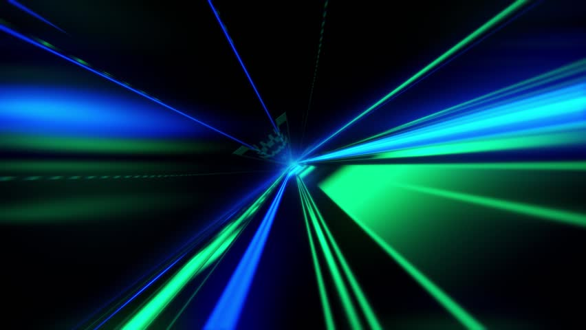Speed motion on the neon glowing road at dark. Speed motion on the road. Colored light streaks acceleration. Abstract illustration. Blue and Green motion streaks.