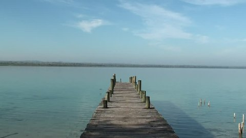 A dock in the Peten lake, Flores, Guatemala