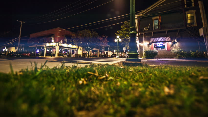 Small Town USA Time-lapse at night