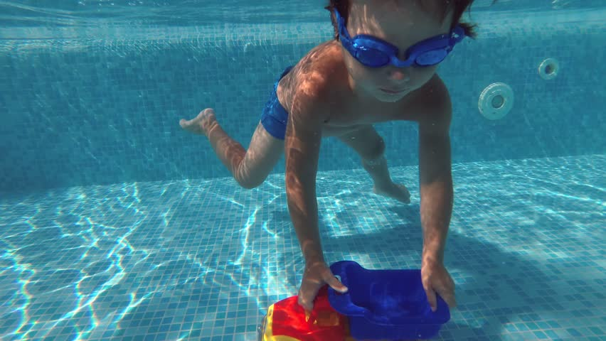A little boy playing under water in the swimming pool   #28852660