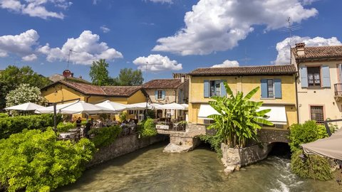 4K Hyperlapse at Borghetto, River & Bridge, Veneto, Italy