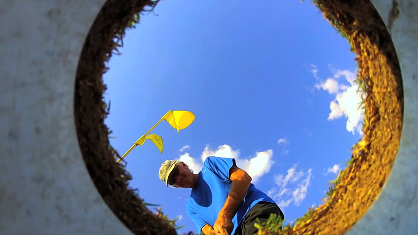 Golf from inside hole POV - HD