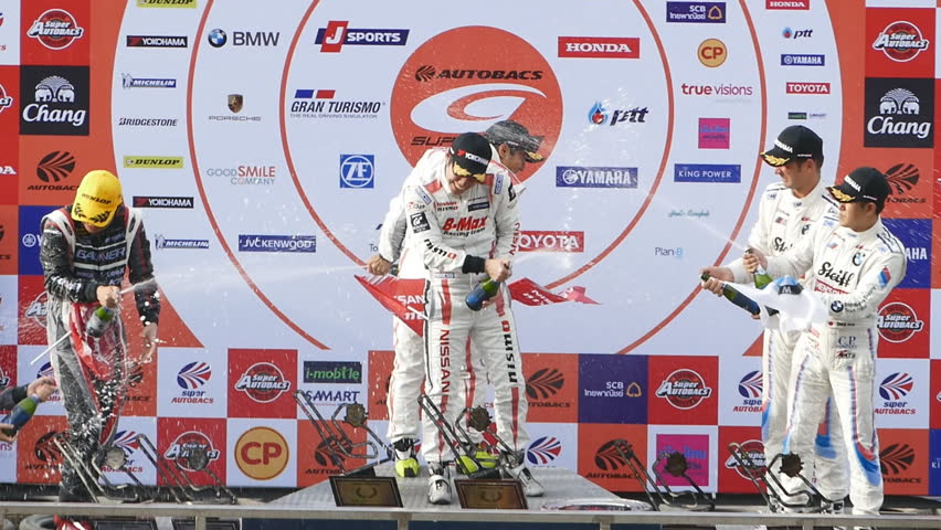 BURIRAM - JUNE 21: Ceremony of award winners of The 2015 Autobacs Super GT Series Race 3 on June 21, 2015 at Chang International Racing Circuit, Buriram Thailand.