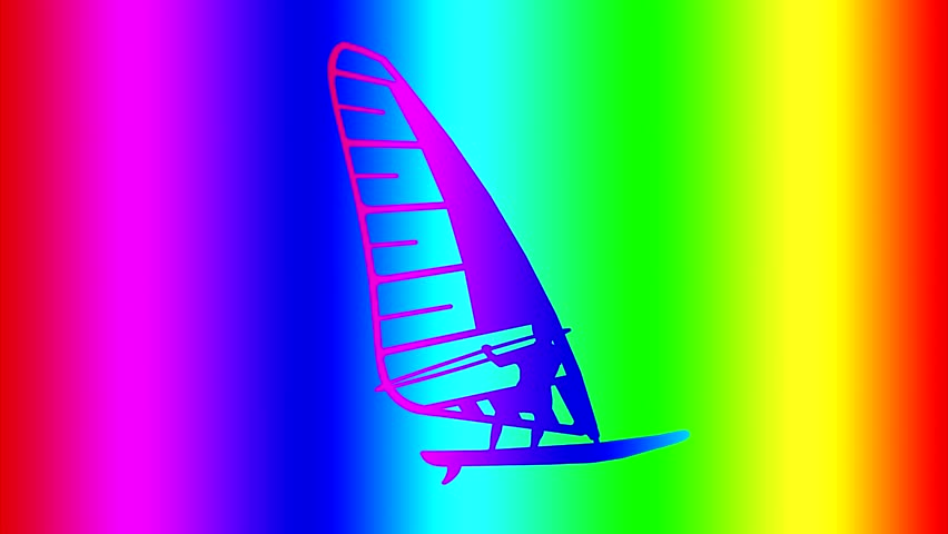 Silhouette of a surfer colors of the rainbow. Merges with the background. The background colour of the rainbow. Appears out of the background color. | Shutterstock HD Video #28924240