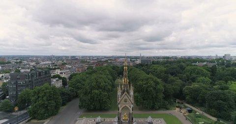 Aerial descending view of the Royal Albert Memorial in Hyde park in London