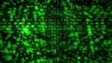 Digital Dollar Matrix. Matrix of digits creating 100 USD picture on computer monitor. Starting with camera moving back from extreme close up of the monitor screen.
