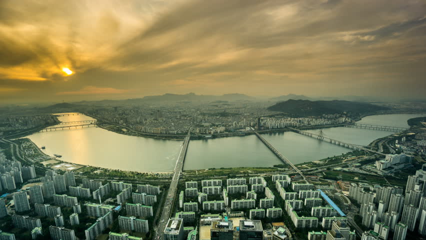 Twilight and aerial view of the Seoul city, South Korea  | Shutterstock HD Video #28935760