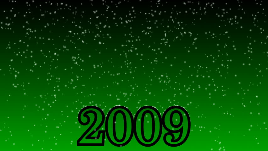 Snow falling animation Year 2009 Green Background