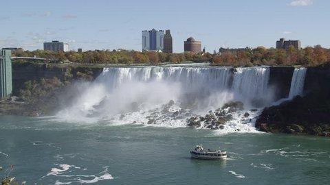 American Falls With Sightseeing Boat At Niagara Falls In Ontario, Canada (Medium / Locked-Off)
