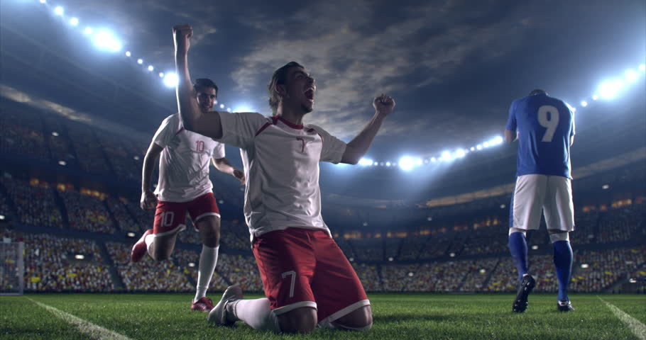 Professional footballer is happy and slides with his hands to the air. Another soccer player runs after him happily. Action takes place on soccer stadium.  Stadium and crowd are made in 3D. | Shutterstock HD Video #28948240