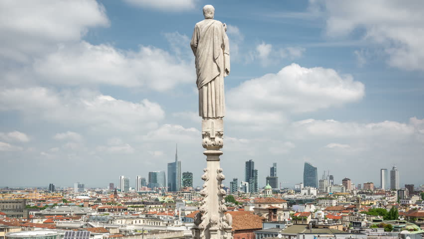 Milan. Panoramic view from the rooftop of the Duomo di Milano.  | Shutterstock HD Video #28949650