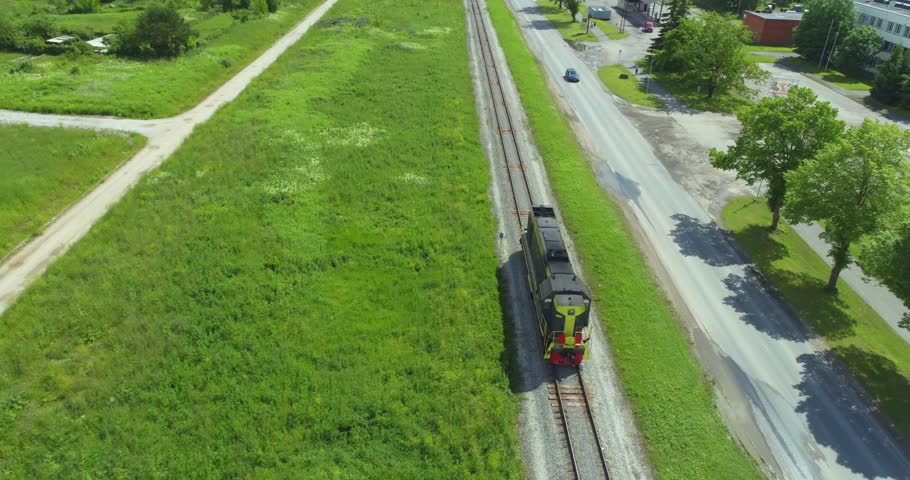 Short freight train moving across the country. Aerial  | Shutterstock HD Video #28960570