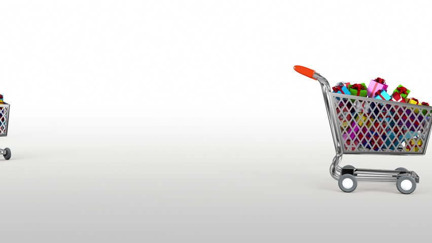 Supermarket trolley. Holiday Shopping Intro. 3D animation.