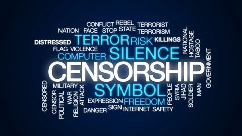 Censorship animated word cloud, text design animation.
