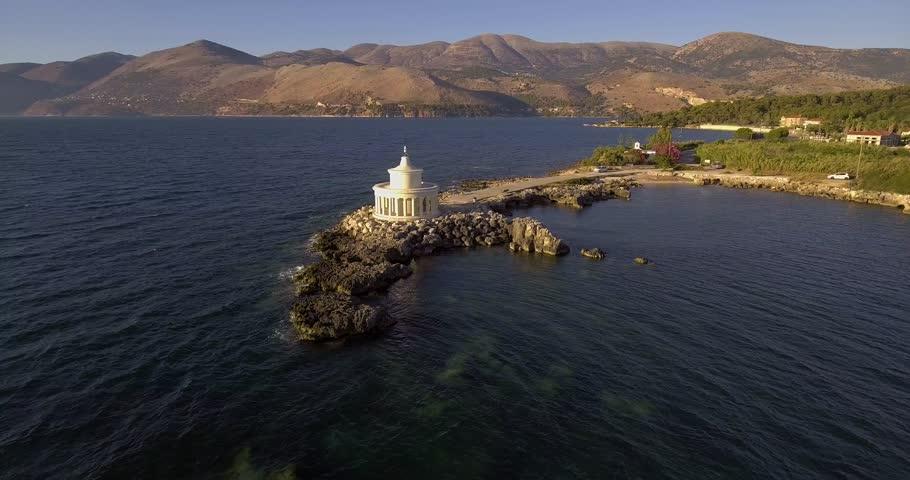 Aerial view of Lighthouse of Saint Theodoroi in Argostoli city, Kefalonia island in Greece