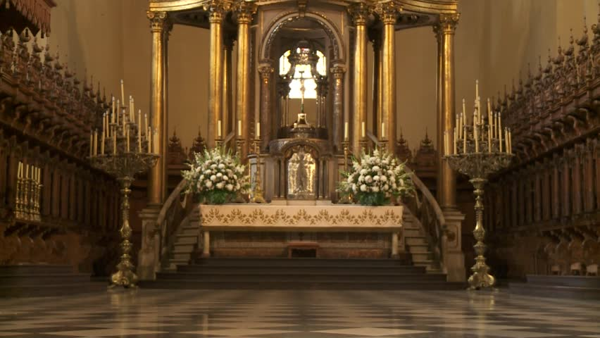 Barcelona circa 2015 a tilting shot showing the for La sagrada familia inside