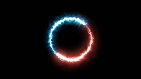 fire and ice ring magic animation.  plasma alpha transparent ring.  two particle ring running to each other (ying yang).  Abstract ring of plasma ice blue red fire particle circle.