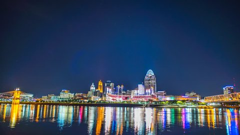 Cincinnati Skyline time lapse at night 4K 1080P - Time lapse down downtown cincinnati skyline and ohio river at night