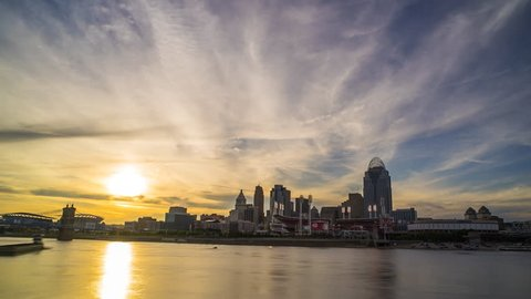 Cincinnati Sunset Time Lapse Day To Night 4K 1080P - Sun Setting behind cincinnati skyline and ohio river time lapse
