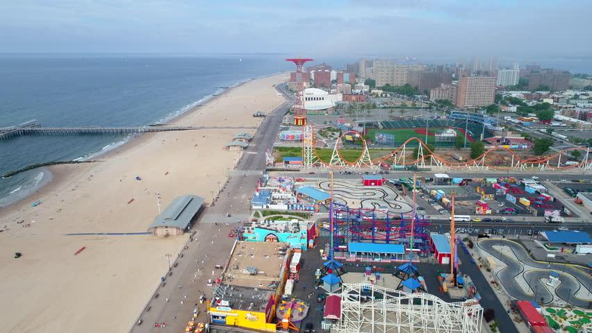 NEW YORK, JULY 2017: Aerial drone pov Coney Island footage 4k prores