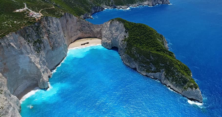 Aerial Flight With Drone Over The Navagio Shipwreck Beach In Zakynthos Island Greece