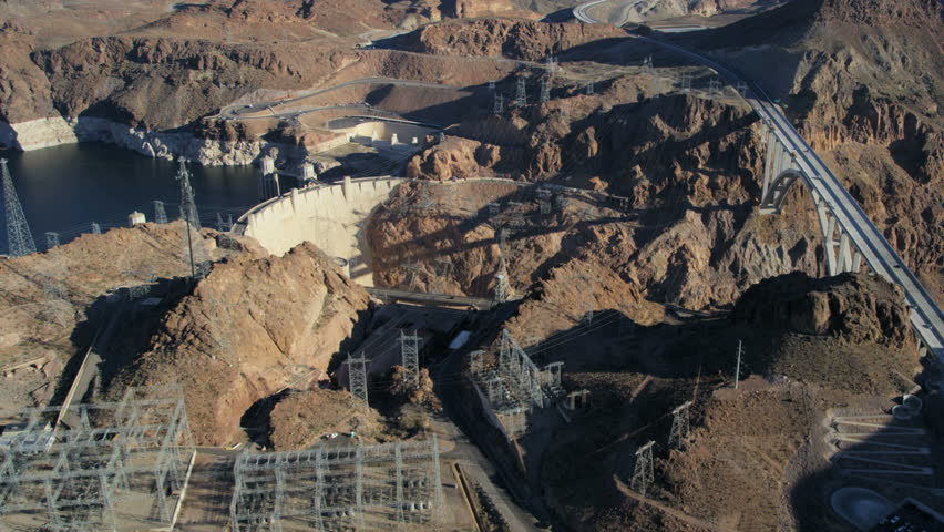Aerial view Hoover Dam producing hydroelectricity Colorado River Bridge on US 93 near Las Vegas Nevada USA RED EPIC | Shutterstock HD Video #29009230