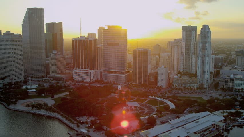 Miami USA - April 2017: Aerial sunset view of Bayfront Park Downtown Financial District Florida USA RED EPIC
