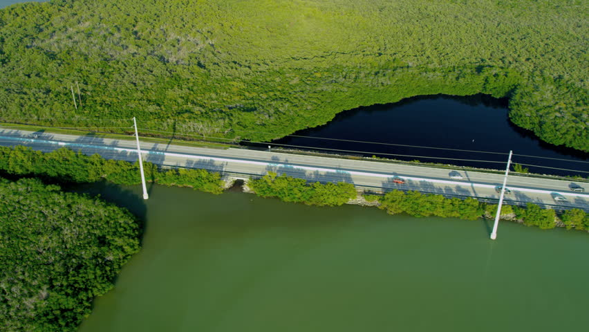 Aerial view Route US 1 Highway crossing marshland Key Largo Southern Florida National Park USA RED EPIC