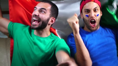 Italian Friends Celebrating with Italy Flag
