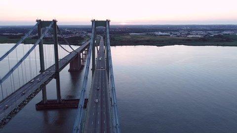 Drone orbit Delaware Memorial Bridge 4k aerial