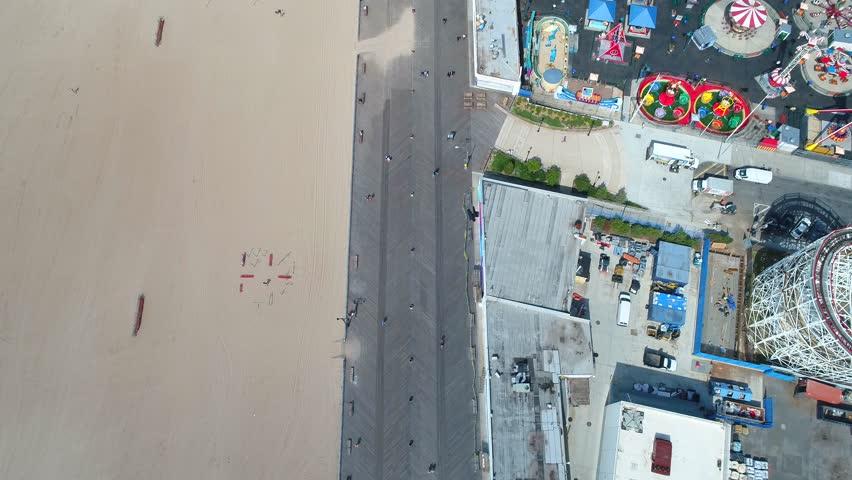 Coney Island beach boardwalk 4k directly above aerial