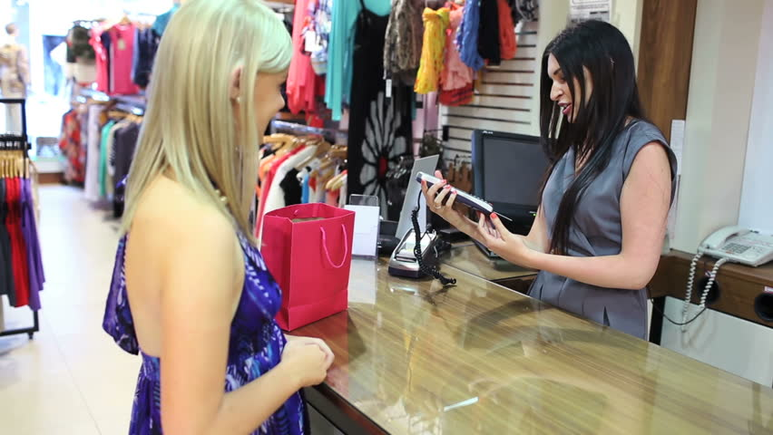 Cashier Giving Credit Card Back Stock Footage Video 100 Royalty