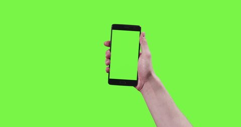 13 young man hand touch gestures with smartphone on green screen