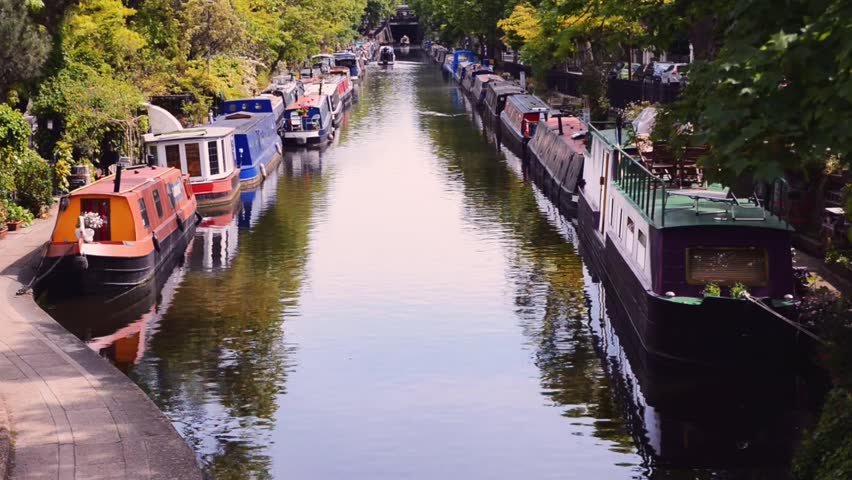 Little Venice canal with houseboats seen from bridge, London